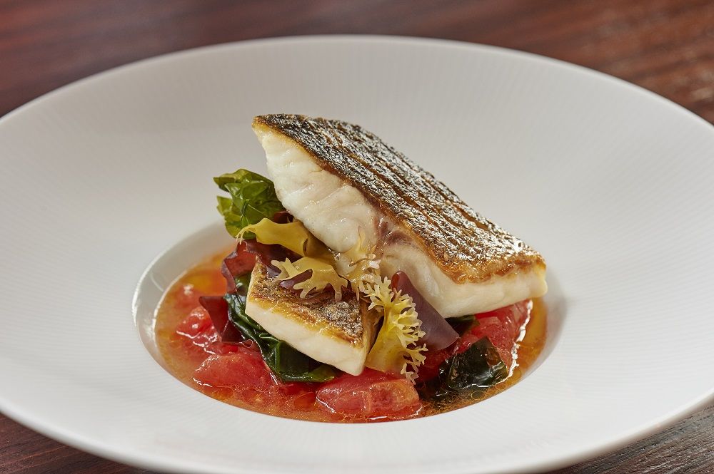 LR-Roasted seabass with confit heritage tomato, pickled dulse, sea lettuce