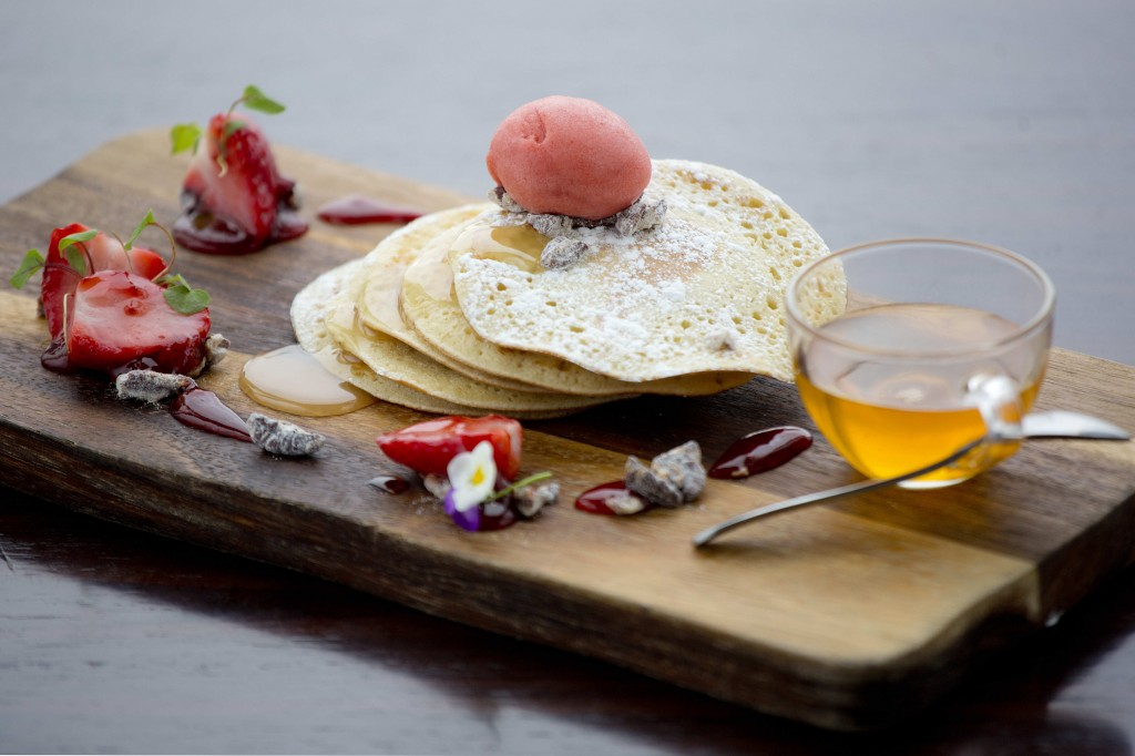 aqua shard pancakes with strawberry ice-cream & maple pecan syrup