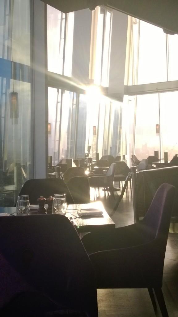 Dawn's early light bathes the atrium at aqua shard