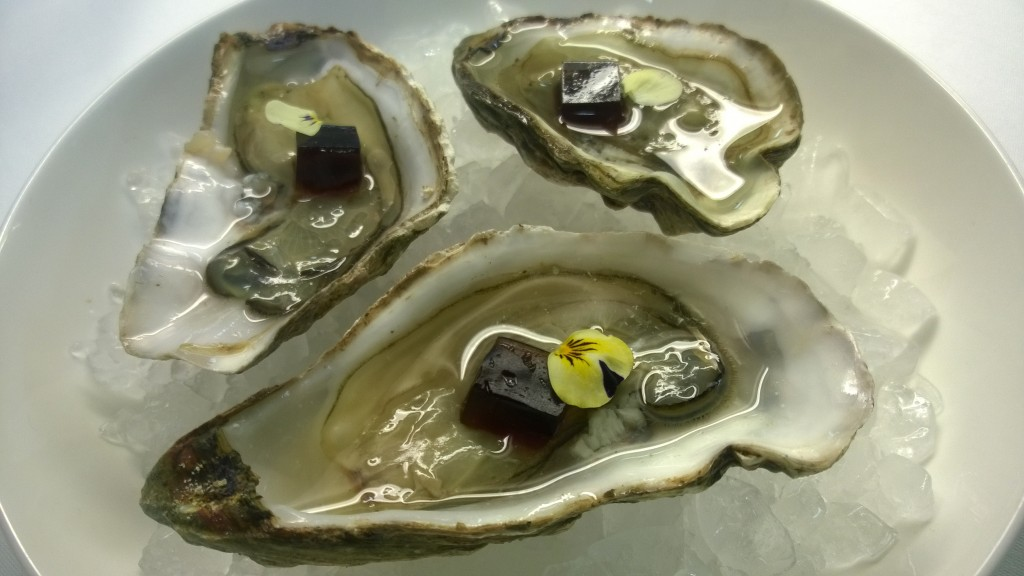 Donegal oysters with Guinness & whiskey jelly