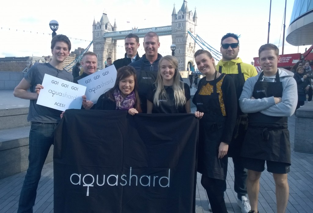 aqua shard Aces and their supporters at the Flipping Great SE1 Pancake Race