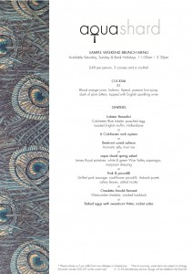 Sample aqua shard weekend brunch menu copy