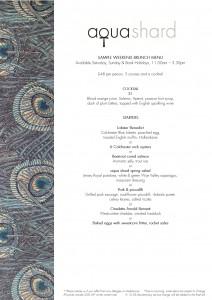 Sample aqua shard weekend brunch menu copy