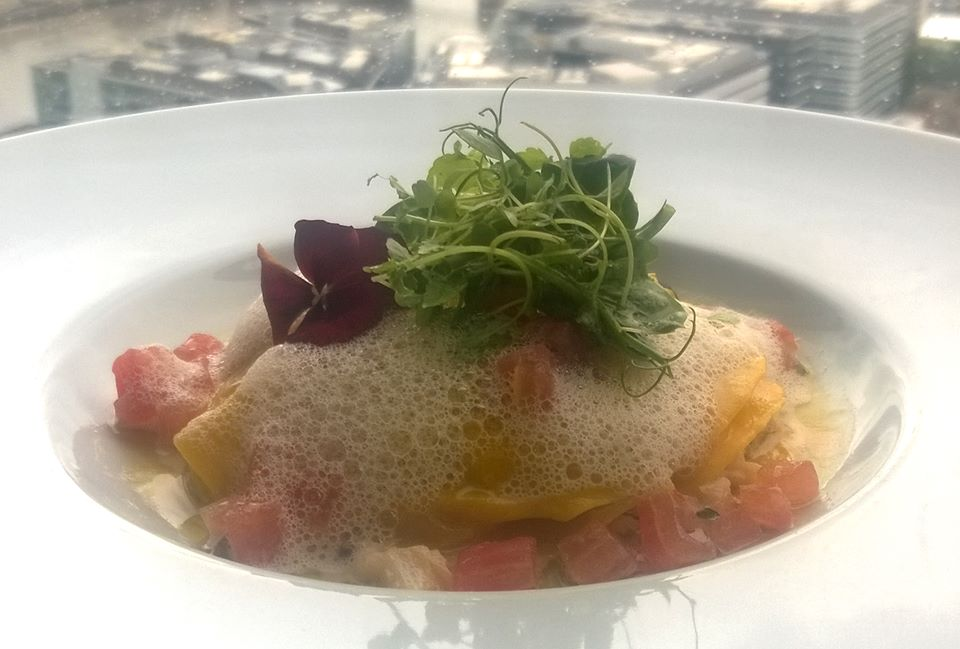 Anthony Garlando's Open crab ravioli at aqua shard