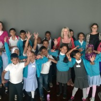 The children from Ben Jonson Primary School with teachers and volunteers