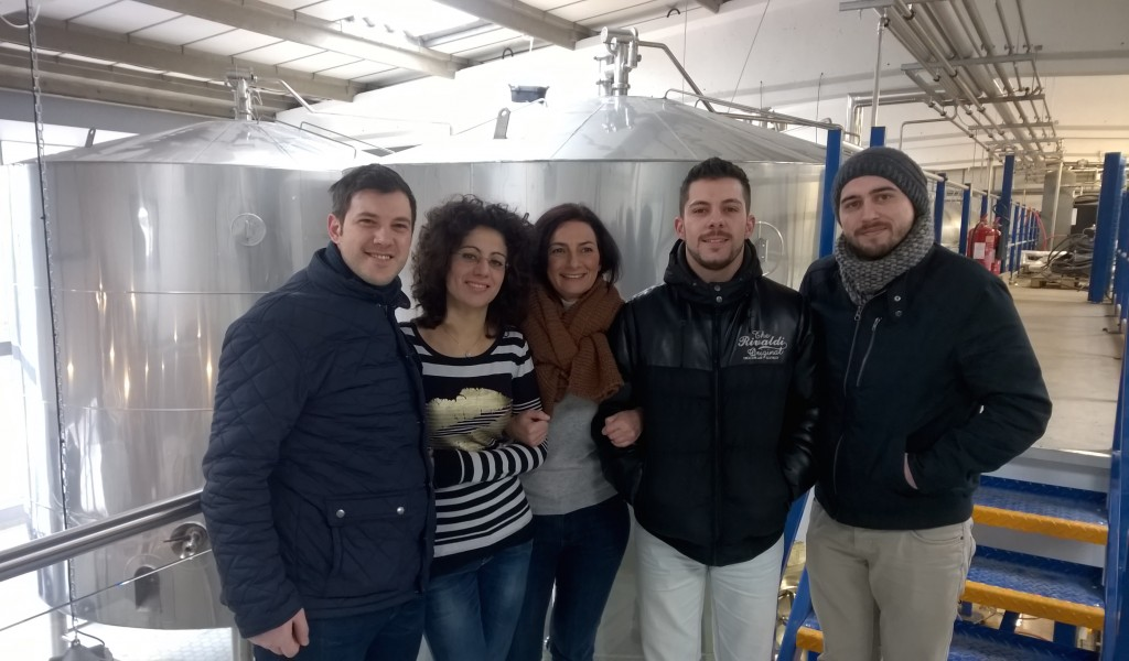 Bar team members touring Meantime Brewery