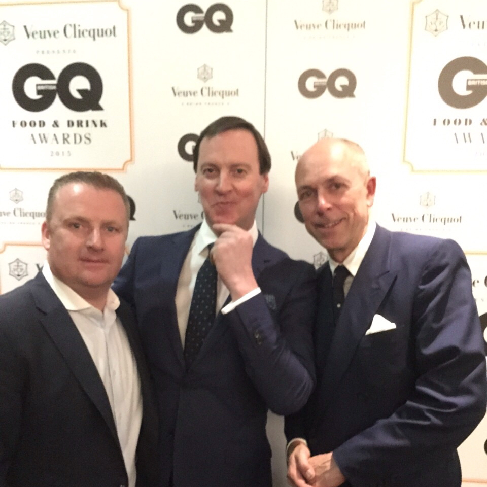 David Boyd (centre), aqua shard general manager John Wiltshire (L) and GQ editor Dylan Jones (R)