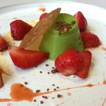 Basil custard, strawberries & clotted cream