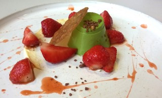Basil custard, strawberries & clotted cream