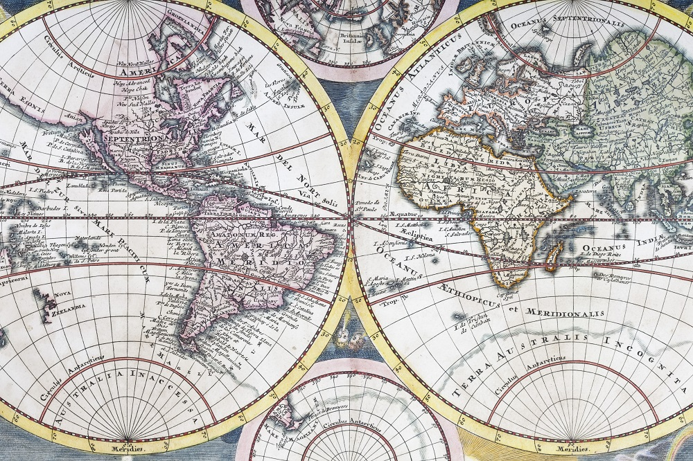 Detail copper engraving of world map from 1720