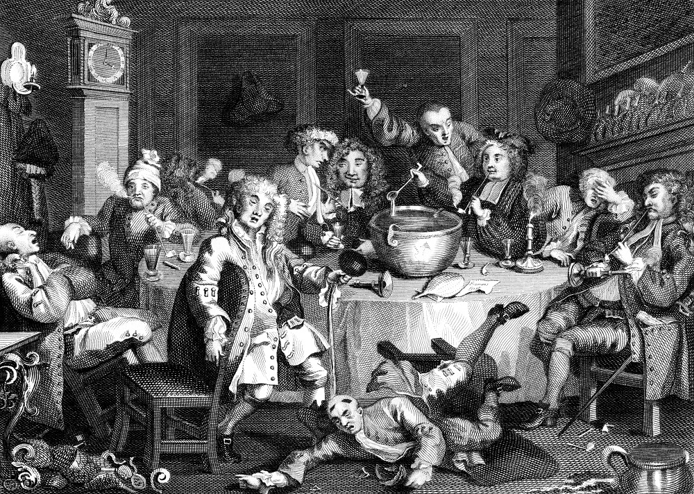 18th Century Drinking Party in England by Hogarth